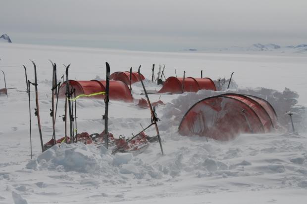 Acclimatisation Trek – Campsite half buried in snow – copyright Alexis Girardet JPEG